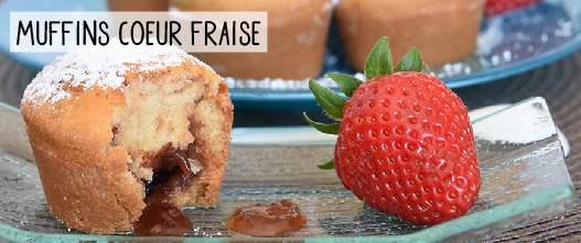 Muffins sans gluten au coeur coulant à la fraise