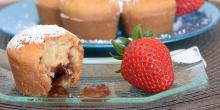 Recette muffins sans gluten cœur coulant à la fraise